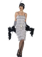 Adult Long Silver Flapper Costume