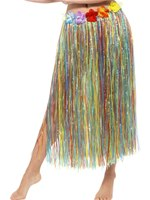 Adult Multicoloured Hawaiian Hula Skirt