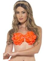 Adult Neon Orange Hawaiian Bra