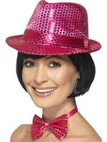 Adult Pink Sequin Trilby Hat [44381]