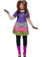 Adult Plus Size Curves 80s Rock Chick Costume