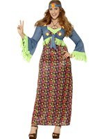 Adult Plus Size Curves Hippie Lady Costume