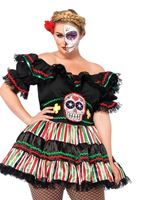 Adult Plus Size Day of the Dead Doll Costume