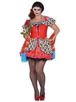 Adult Plus Size Senora Sugar Skull Costume