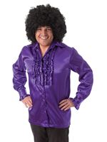 Adult Purple Satin Ruffle Shirt
