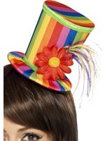 Adult Rainbow Mini Top Hat [43583]
