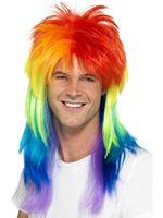 Adult Rainbow Mullet Wig
