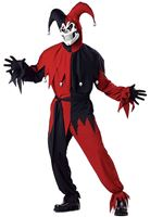 Adult Red and Black Evil Jester Costume