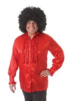 Adult Red Satin Ruffle Shirt