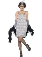 Adult Short Silver Flapper Costume