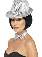 Adult Silver Sequin Trilby Hat [44380]