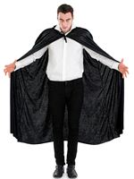 Adult Black Velour Hooded Cape