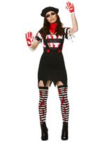 Adult Zombie Mime Girl Costume