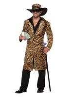 Adults Funky Leopard Pimp Jacket and Hat Costume