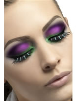 Black and Green Diamante Eyelashes [24257]