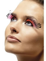 Black & Pink Feather Plume Eyelashes