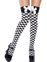 Black & White Check Thigh Highs [34094]