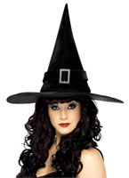 Adult Black Diamante Witches Hat