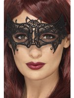 Black Embroidered Filigree Bat Mask