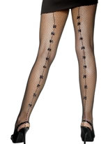Black Fishnet Tights with Satin Bows