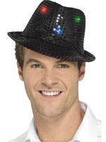 Black Light Up Sequin Trilby Hat [47067]