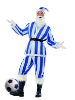 Adult Blue & White Striped Sport Santa Costume