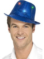 Blue Light Up Sequin Trilby Hat
