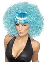 Blue Popstar Afro Wig