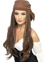 Adult Brown Pirate Wig with Bandana [21398]
