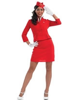 Adult Red Cabin Crew Costume [FS3091]