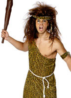Adult Caveman Costume Brown Print Velour