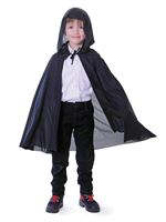 Child Black Hooded Cape [CC554]
