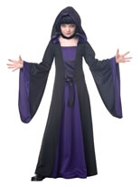 Childrens Purple and Black Hooded Robe [00382]