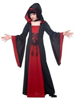 Childrens Red and Black Hooded Robe [00383]
