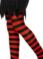 Childs Striped Tights Black And Red [30662]