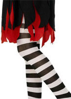 Childs Striped Tights Black And White [30656]