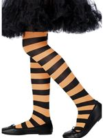 Childs Striped Tights Orange and Black