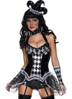 Adult Cirque Sinister Tainted Harlequin Costume