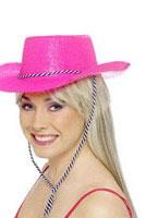 Cowboy Glitter Hat Neon Pink [24185]