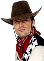 Cowboy Hat Brown Suede Look