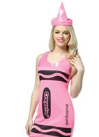 Adult Crayola Crayons Neon Pink Tank Dress Costume