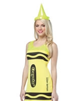 Adult Crayola Crayons Neon Yellow Tank Dress Costume