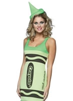 Adult Crayola Crayons Screaming Green Tank Dress Costume