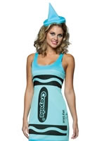 Adult Crayola Crayons Sky Blue Tank Dress Costume