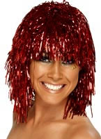 Cyber Tinsel Wig Metallic Red