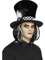 Dark Tea Party Top Hat with Hair [45022]