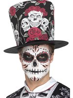 Day of the Dead Skull & Rose Top Hat [48035]