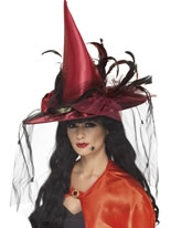 Deluxe Deep Red Witch Hat