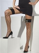 Diamond Net Stockings with Cameo Bow