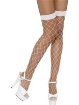 Diamond Net White Thigh High Stockings